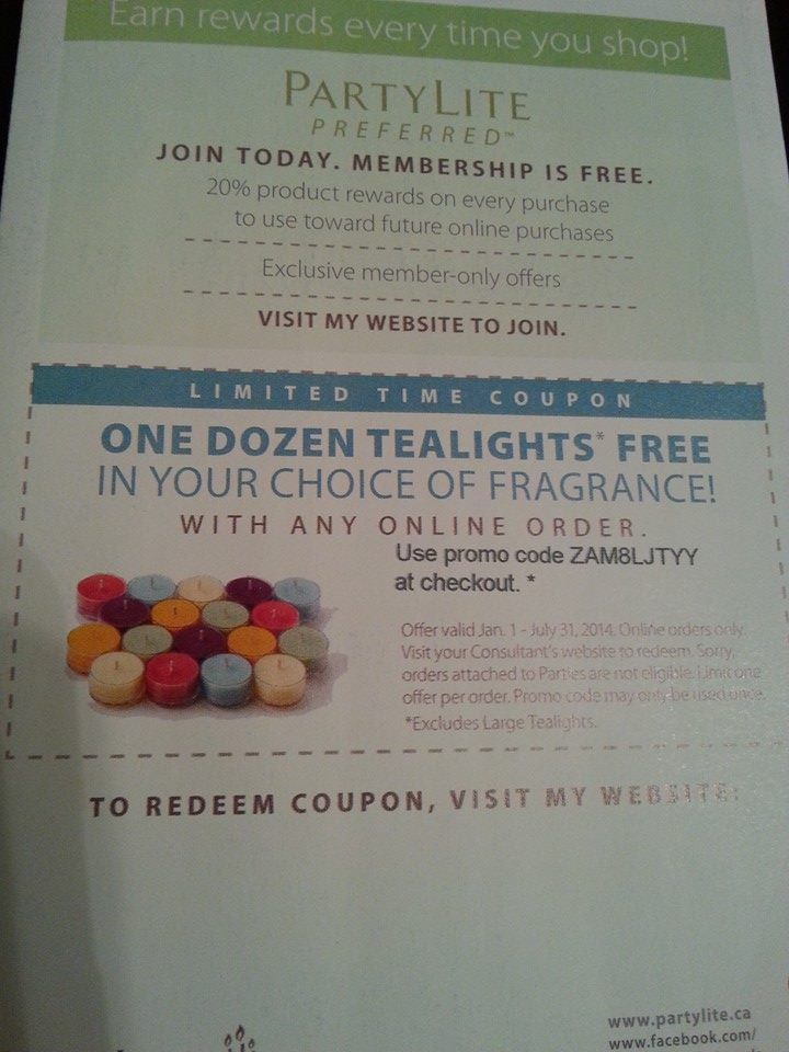 PLACE AN ORDER ON LINE AND YOU WILL GET A FREE DOZ TEALIGHTS OF YOUR CHOICE... message me for your promo code www.partylite.biz/elegancebymarta