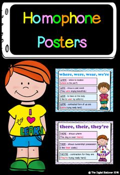 $1.50 - Set of 14 homophones / homonym posters including the most frequently misspelled homophones. Each word has a short definition along with a sentence example.