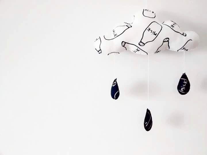 Rain Cloud Mobile MILK BOTTLE special edition - Monochrome | Nursery Decor | Baby | Kids by CloudishHandmade on Etsy