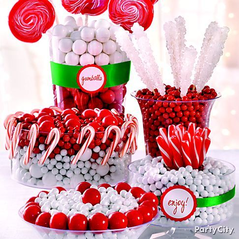 Make your Christmas party a feast for the eyes! Create a candy buffet with containers and candy from Party City. Click the pic for more inspiration.