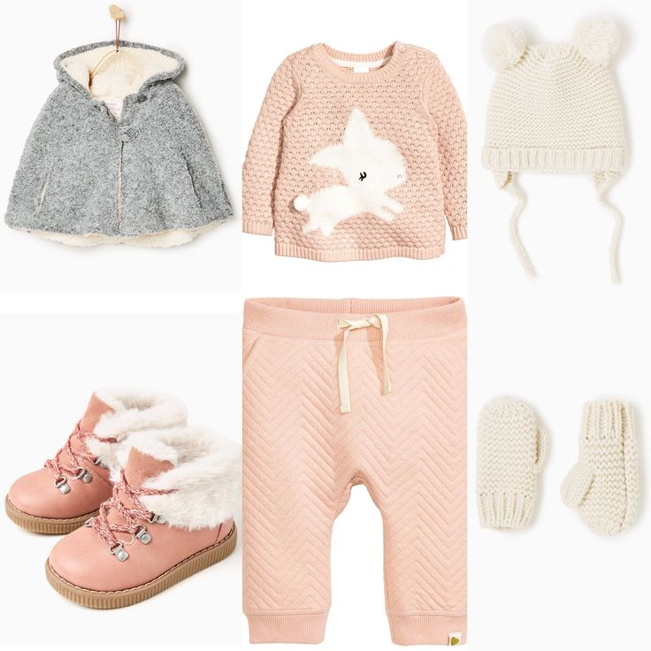 Baby girl winter outfit Zara H&M 2016 fall collections. Grey cape style coat, pink trousers and sweater, white hat and mittens, pink furry boots.