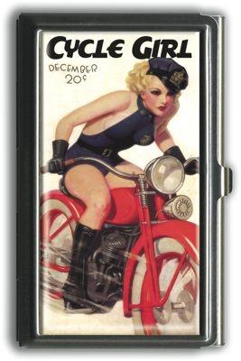 Etui porte-cartes rétro Cycle girl | DECO ACCESSOIRES PIN UP ATTITUDE : La prochaine fois que vous donnerez votre carte de visite à quelqu'un: faites le avec distinction!   http://www.pinupattitude.com/gamme.htm?products_name=Etui+porte-cartes%20r%E9tro%20Cycle%20girl_id=14#  #accessoires #deco #vintage #oldschool #rock #shopping #retro #50s #60s #rockabilly #sexy #glamour #pinup