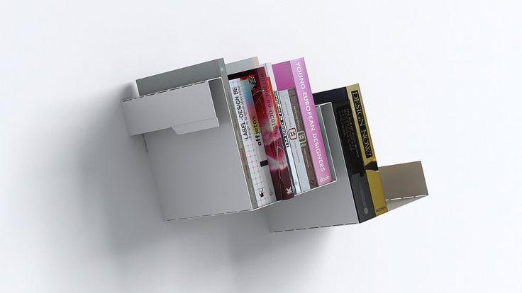 """RECTO VERSO - Linadura Questa linea """"quasi invisibile"""" può essere combinata per creare librerie a muro di varie dimensioni e forme per libri di valore o pezzi d'arte. L'alluminio è anche una scelta ecocompatibile perché è un metallo riciclabile all'infinito. Designer Emmanuel Gardin"""