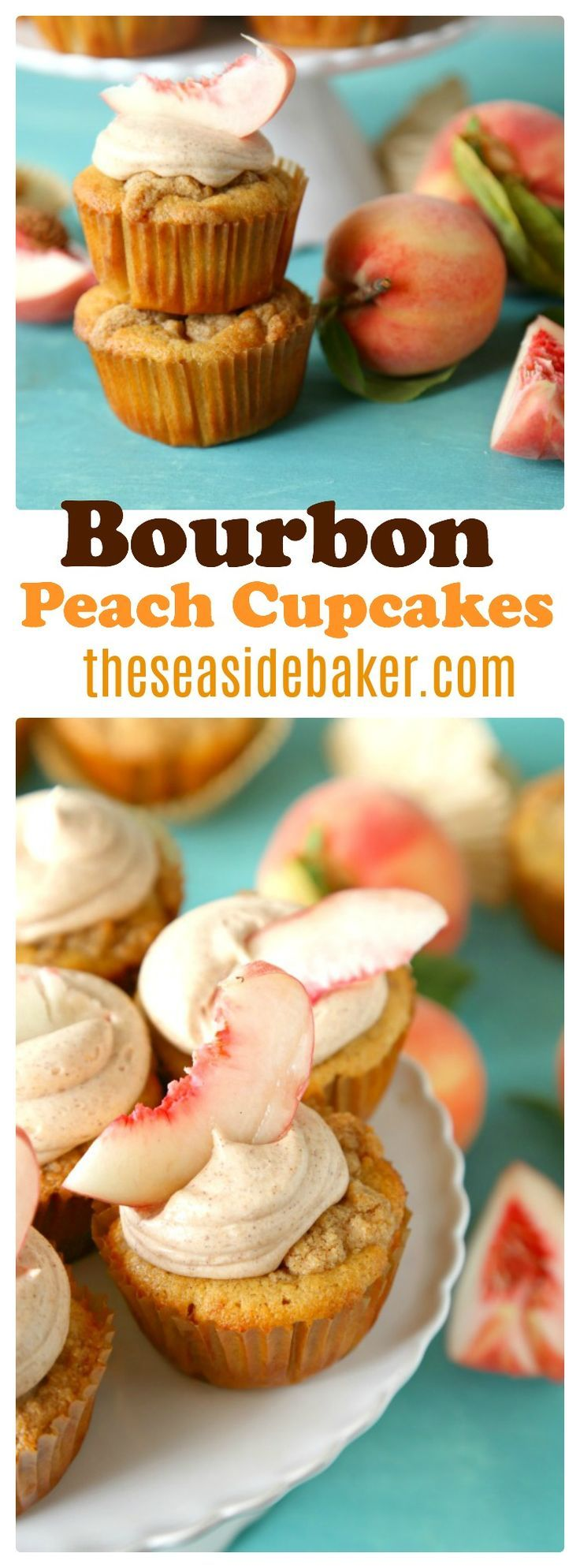 Cinnamon bourbon cupcakes with fresh peaches and a brown sugar streusel topping. Topped with a sweet bourbon peach cinnamon frosting.