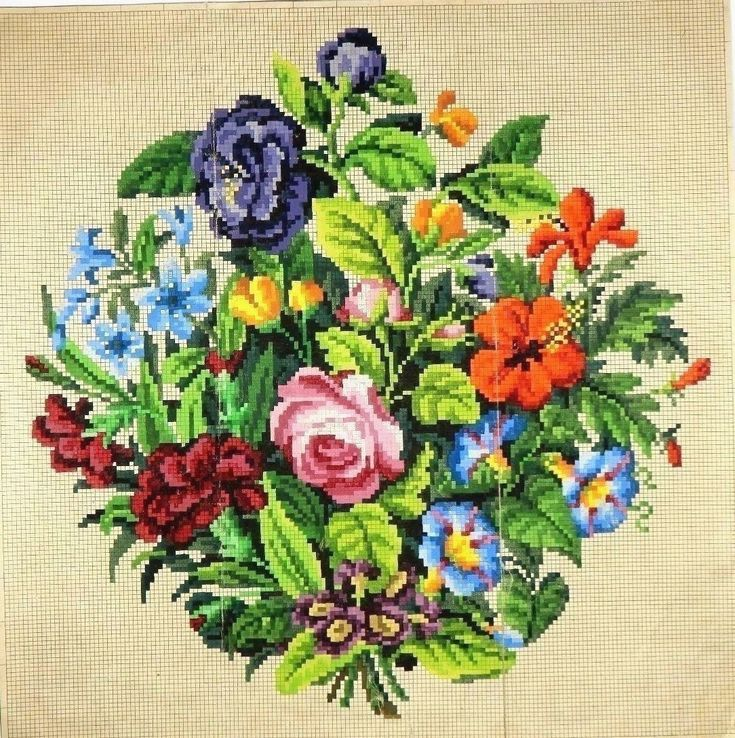 A Large Berlin WoolWork Floral Bouquet Pattern
