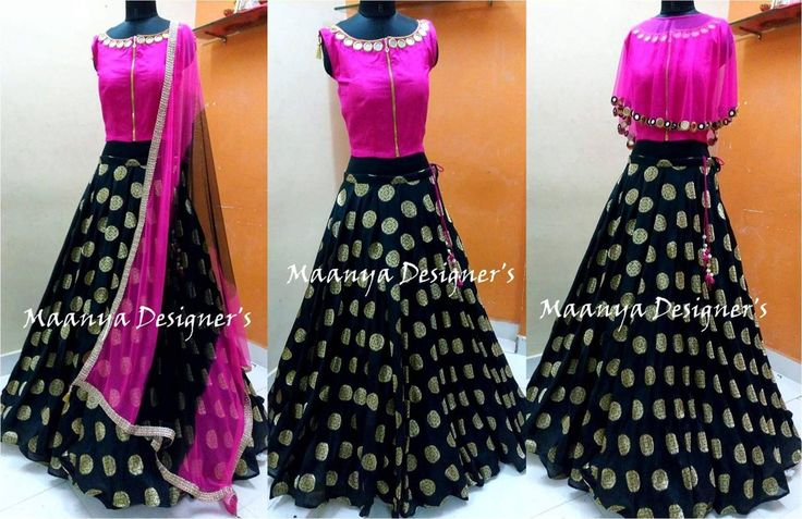 CODE- L1453 styles of draping in one design....with pink and black combination crop top skirt To order/inquiries email us at maanyadesigners@gmail.com (or) inbox us on Fb messenger 24 October 2016