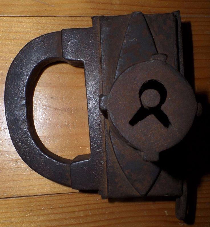 uralt Bügelschloss, 17. Jahrhundert, mit 2-Bart Schlüsselloch