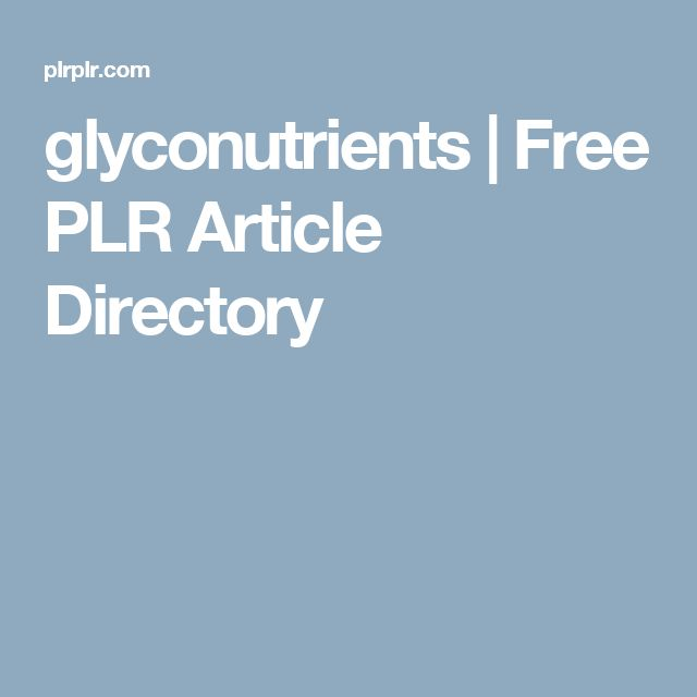 glyconutrients | Free PLR Article Directory