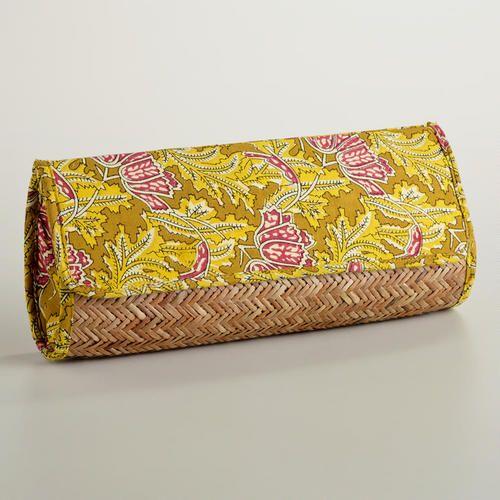 One of my favorite discoveries at WorldMarket.com: Yellow Rattan Kalamkari Clutch Bag