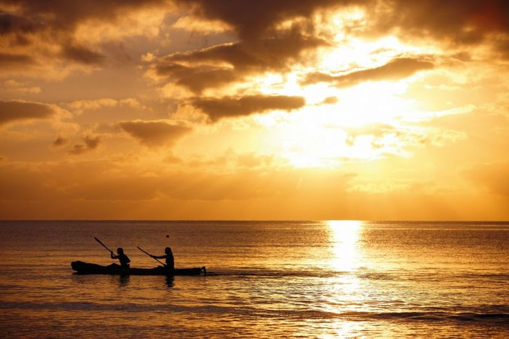 Kayaking at sunrise, Queensland, Australia