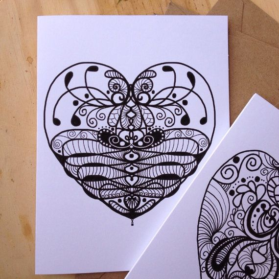 Set of 4 Valentine's Doodle Heart Black and White by DoodleButton