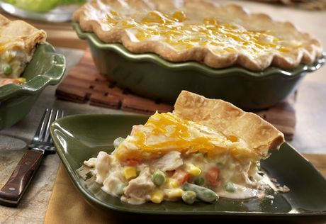Using convenience products like canned soup, cooked chicken, frozen veggies and refrigerated pie crusts make this comfort food classic a cinch to prepare. It's chock full of flavor and ready in just 50 minutes.