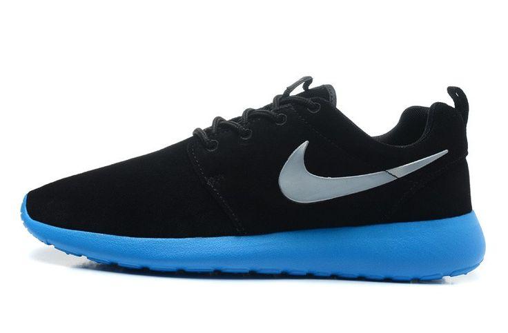 Nike Roshe Run Chaussures En Daim Noir/Argent/Bleu Céruléen/Volt Pour Homme HOT SALE! HOT PRICE!