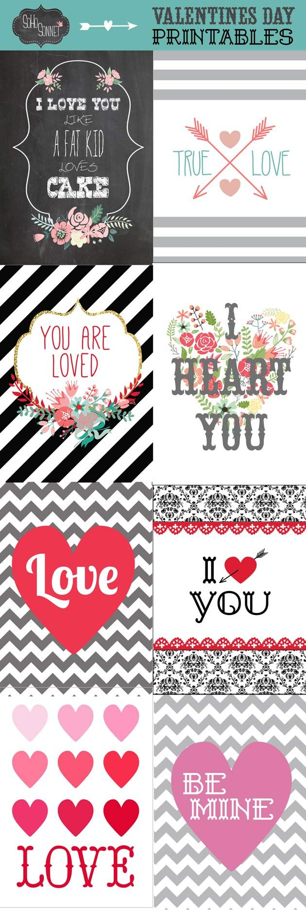 Valentines Day Printables Free - SohoSonnet Creative Living
