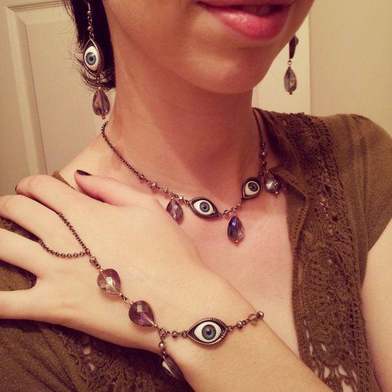 Blue Eyeballs Necklace Earring and Bracelet Set by GypsyJunkStudio