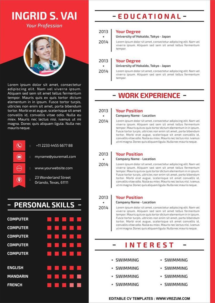 (EDITABLE) FREE CV Templates For Teachers in 2020 Cv