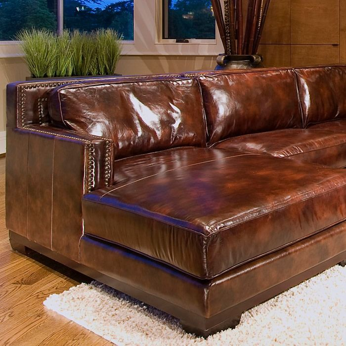 Found it at www.dcgstores.com - ♥ ♥ Davis Saddle Brown Leather Sectional with Left Facing Chaise ♥ ♥