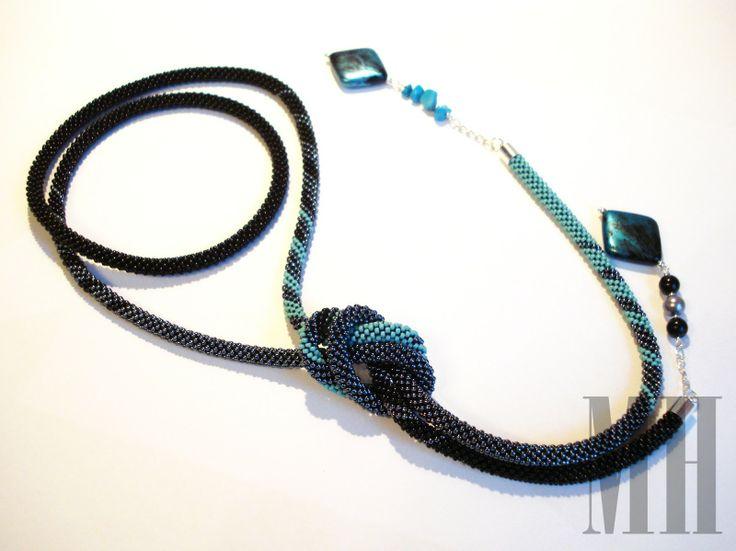 Turkusowo - czarny lariat   MH Biżuteria - cuda ręcznie wykonane
