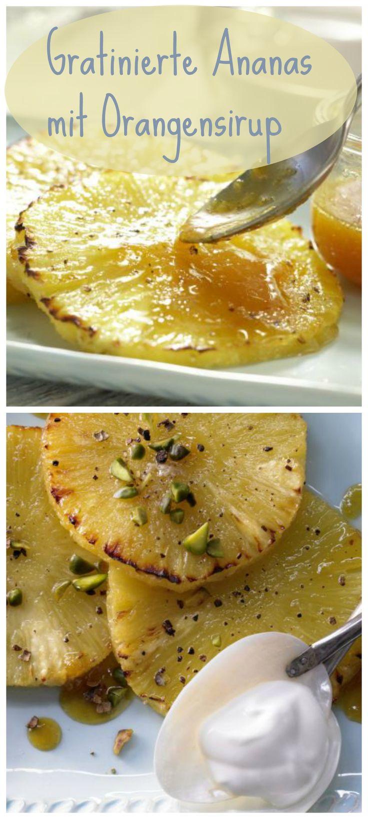 Das Dessert punktet mit verführerischem Geschmack bei nur 280 Kalorien: Gratinierte Ananas mit Pimentzucker und Orangensirup | http://eatsmarter.de/rezepte/gratinierte-ananas