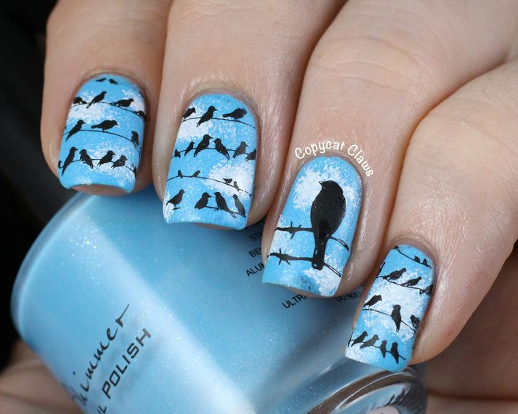 Nail Art - Stamping, Birds on a Wire  - Plates Messy Mansion 14 and MoYou London Pro04