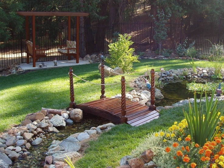 62 best images about little yard bridges on pinterest for Front yard fish pond