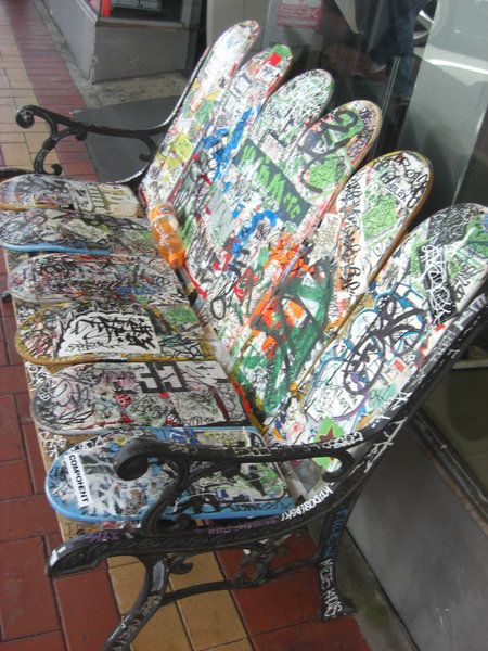 Skateboard Bench...oh my goodness, why didn't I think of that?
