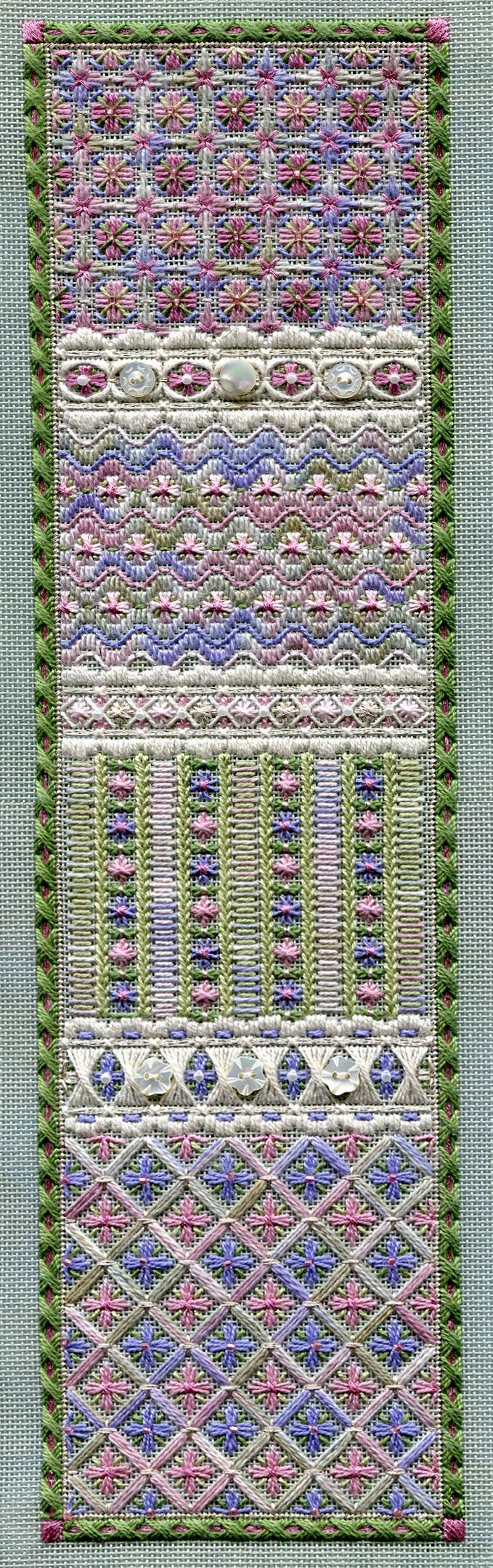 """Long Spring Panel   4.5"""" x 16.25"""" on 18 ct santa fe sage canvas Pattern: $16.00 (includes beads, but not buttons) - by Laura J Perin Designs"""
