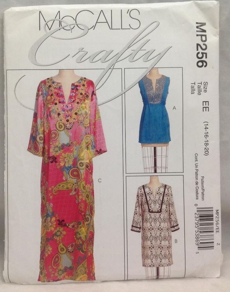 McCall's MP256, Sewing Pattern, Caftan/Tunic, Size EE (14-16-18-20), 2008 #McCall #Caftan