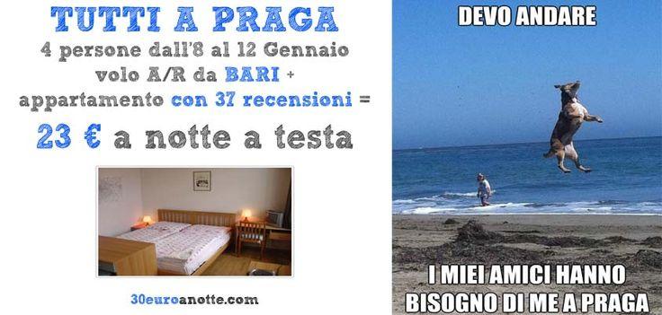 VIAGGETTO A PRAGA PER 4 PERSONE, volo A/R da Bari, soggiorno in appartamento dall'8 al 12 Gennaio: 23 € a notte a testa!