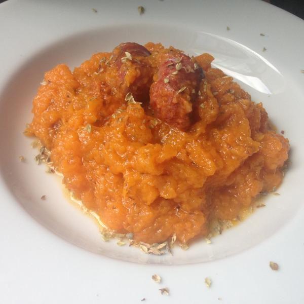 Receta de Calabaza frita con chorizo - Fácil