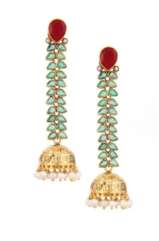 Jhumkas hanging on for dear life to a cascade of green stones :-)