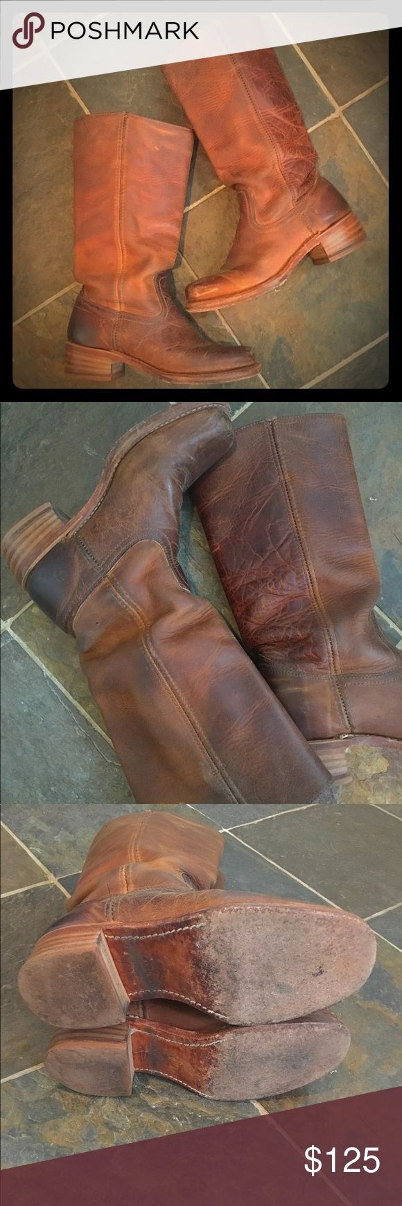 FRYE CAMPUS BOOTS GUC Unique varied texture leather on this pair give them an even more Vintage feel. Well loved but structurally sound. Only selling because I finally found the Harness style in this same color leather. Frye Shoes
