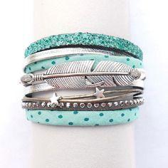 Bracelet manchette multi liens turquoise à pois ave cuir argenté