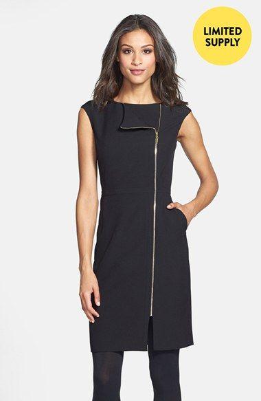 Ellen Tracy Zip Detail Sheath Dress (Regular & Petite) (Online Only) | Nordstrom