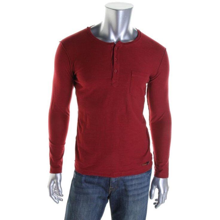 Diesel Co. Mens Henley Neckline Heathered Henley Shirt