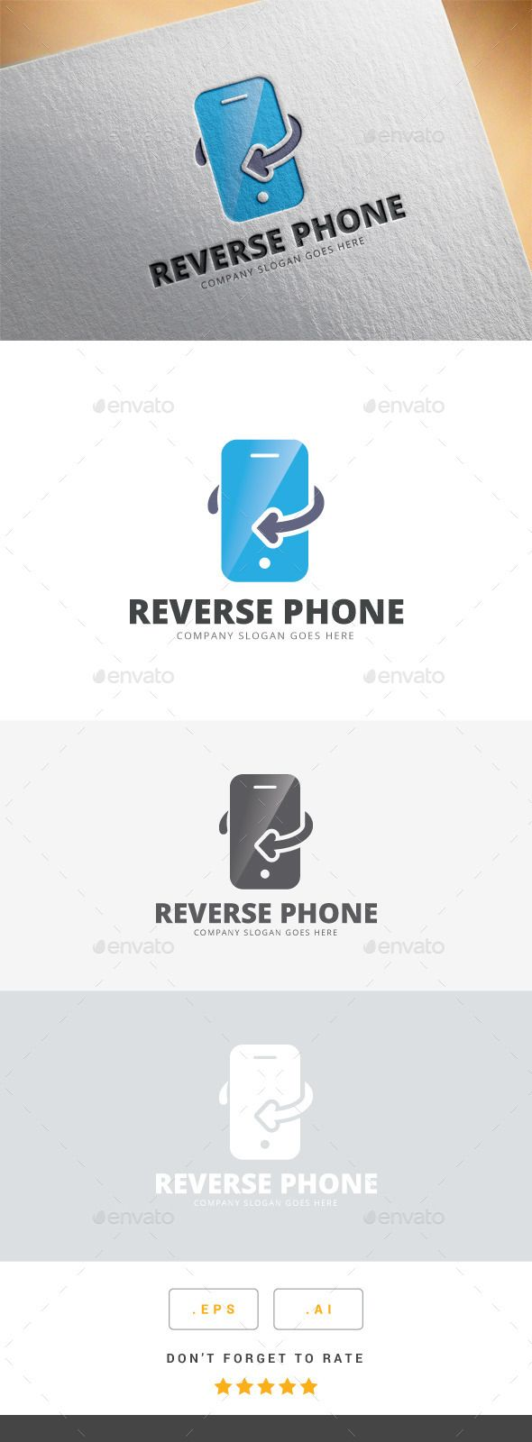 Reverse Phone Logo (AI Illustrator, Resizable, CS, abstract, brand, business, company, corporate, creative, icon, idea, identity, logo, media, modern, objects, professional, reverse phone, service, smartphone, symbol, theme, web)