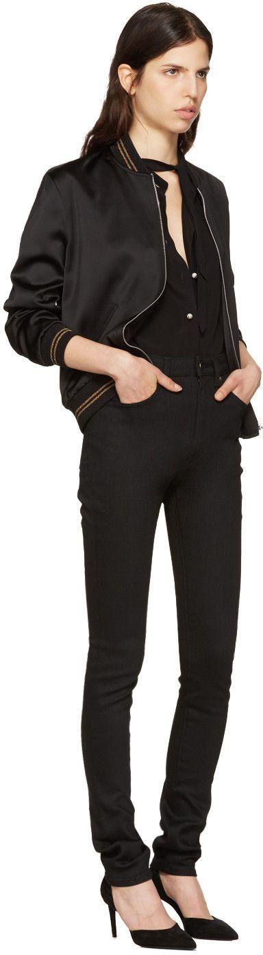 Saint Laurent - Black Teddy Baseball Bomber Jacket