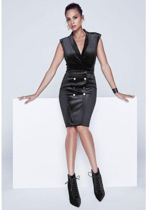 Alesha Dixon Velvet Tux Dress in Black