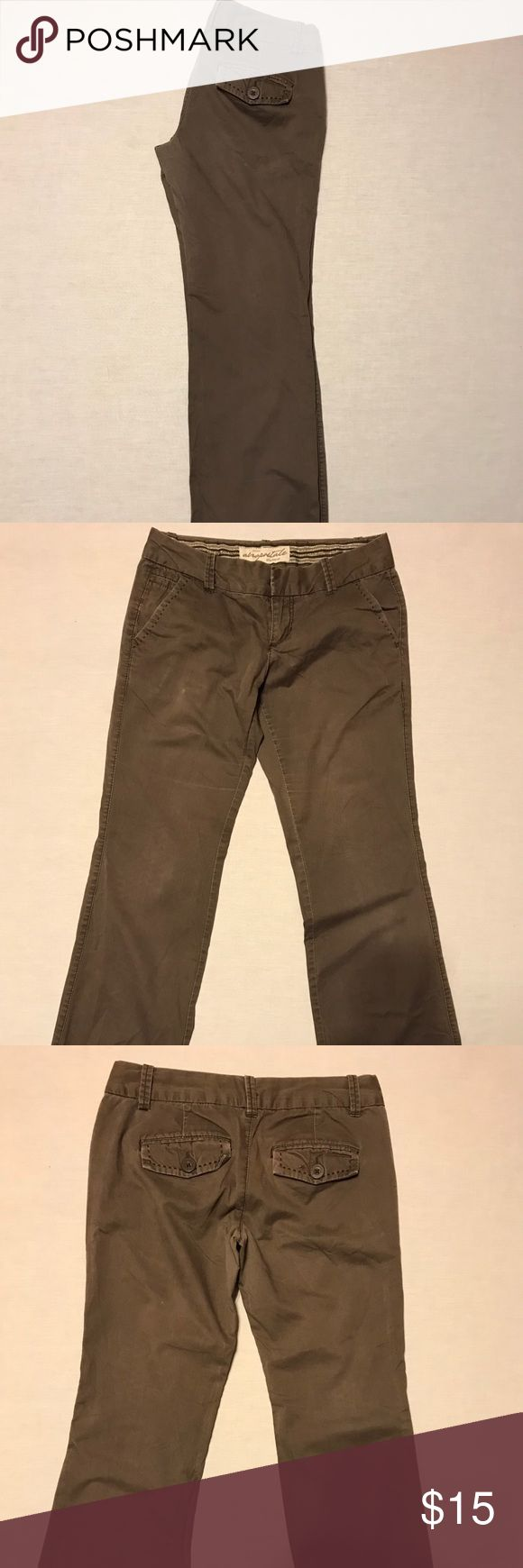 """Aeropostale cotton brown pants 3/4 Up for sale today is a nice pair of ladies brown Aeropostale pants. Their 100% cotton. Their a size 3/4 regular. They have a 32"""" waist and 38"""" hips. They have an inseam of 31.5"""". They have a double hook and zipper. There are three front pockets and two buttoned back pockets. They've been checked for rips, stains and wear. Aeropostale Pants Trousers"""