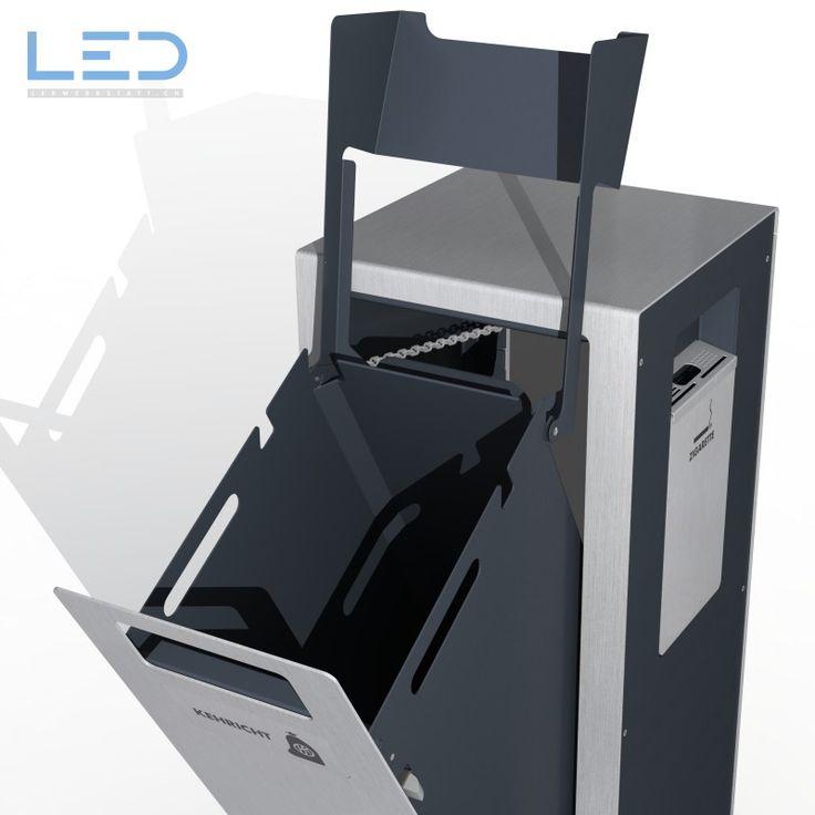 Abfallbehälter W1, Wertstoffbehälter aus Edelstahl, Chromstahl , Inox