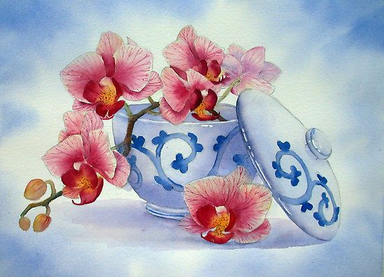 Orchid in a Japanese Bowl ..-... Ann Mortimer