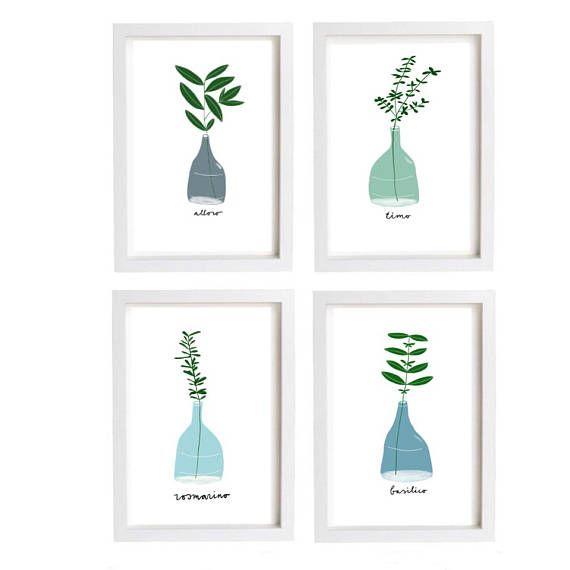 Italian herbs print kitchen art  Instant download digital file