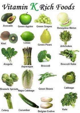 ★ Glamorous Green ★ Vitamin K Rich Foods :)) Vitamin K is critical for blood coagulation (clotting), bone health, and even preventing inflammatory disease. https://www.facebook.com/permalink.php?story_fbid=433601386804067&id=100004626272155