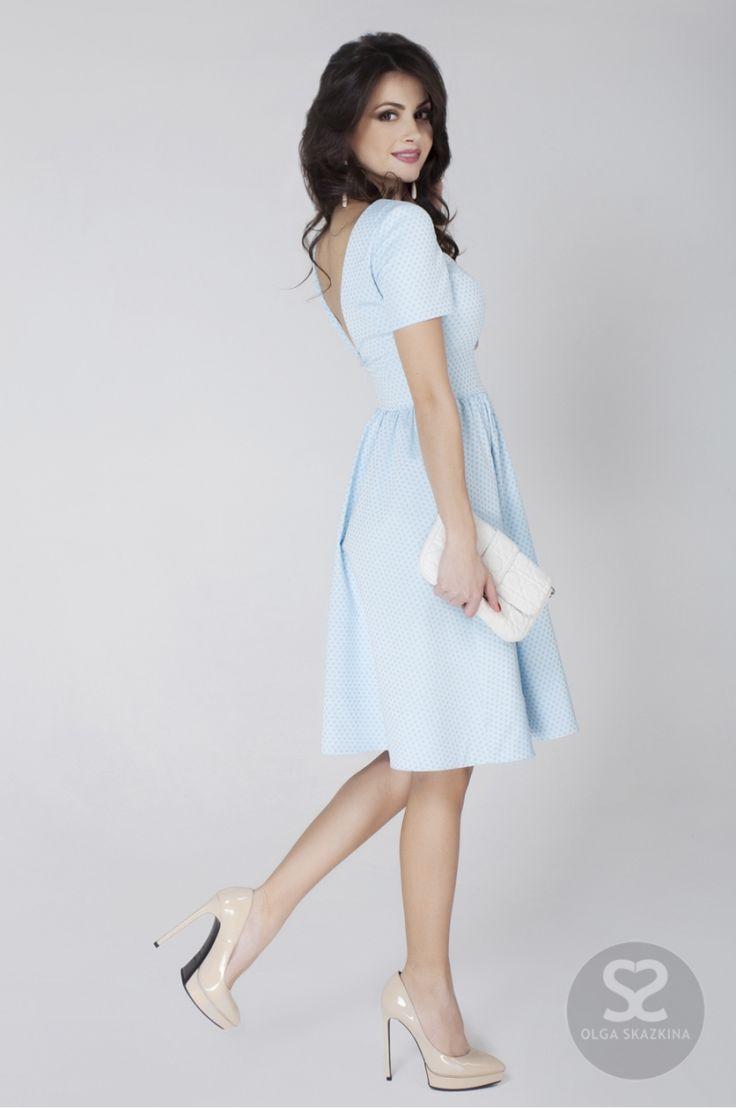 Летнее платье с открытой спиной из хлопка в интернет-магазине дизайнера | Skazkina
