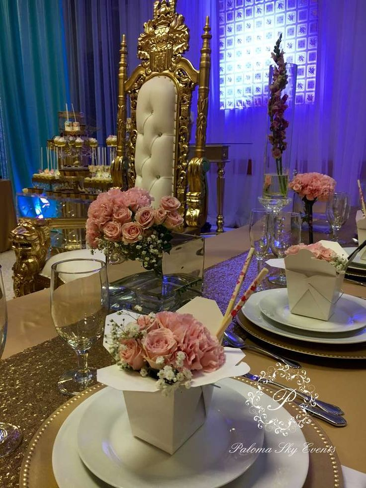 Creative place settings at a Quinceañera party! See more party planning ideas at CatchMyParty.com!