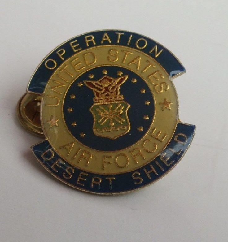 Operation Desert Shield United States Air Force USAF Gulf War Lapel Hat Pin 1990