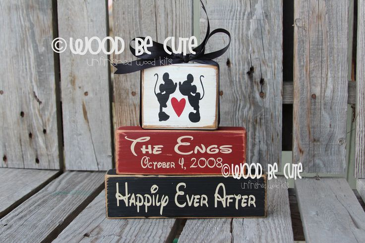 Home Design Gift Ideas: UNFINISHED DIY Wood Block Set Disney Wedding Gift