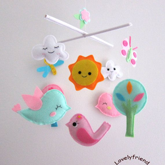 "Baby Crib Mobile - Baby Mobile - Felt Mobile - Nursery mobile - "" bird, sun, tree, cloud, butterfly, Dragon"" design (Custom Color Available). $78.00, via Etsy."