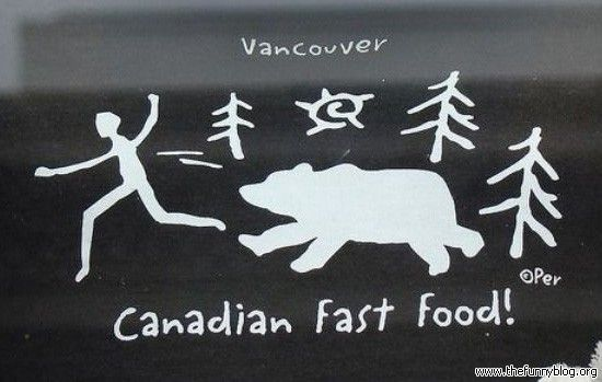 funny Canada picture Canadian Fast Food Hilarious T-Shirt