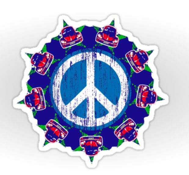 VW Beetle and Peace sign mashup sticker design! #peaceout #beetlemania #volkswagen #cars #sixties #retro #symbols #blue #vintage #stressed #circle #love #beetle #peace #peacesign #hippies #hippypower #powertothepeople #stickers #redbubble #redbubblestickers